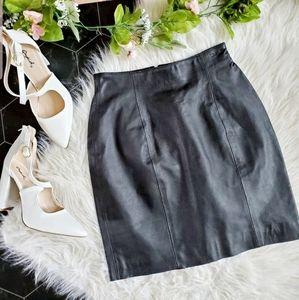 Wilsons Leather Vintage Black Leather Skirt